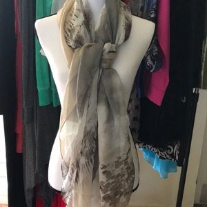 Brown and cream large scarf